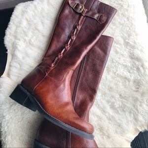 Nicole Brown Leather Braided Riding Boot